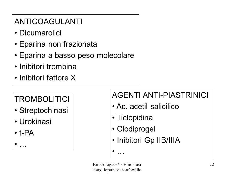 AGENTI ANTI-PIASTRINICI Ac. acetil salicilico Ticlopidina Clodiprogel Inibitori Gp IIB/IIIA … ANTICOAGULANTI Dicumarolici Eparina non frazionata Epari