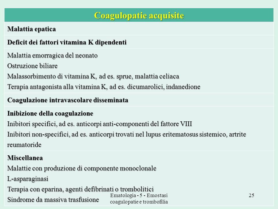 Coagulopatie acquisite Malattia epatica Deficit dei fattori vitamina K dipendenti Malattia emorragica del neonato Ostruzione biliare Malassorbimento d