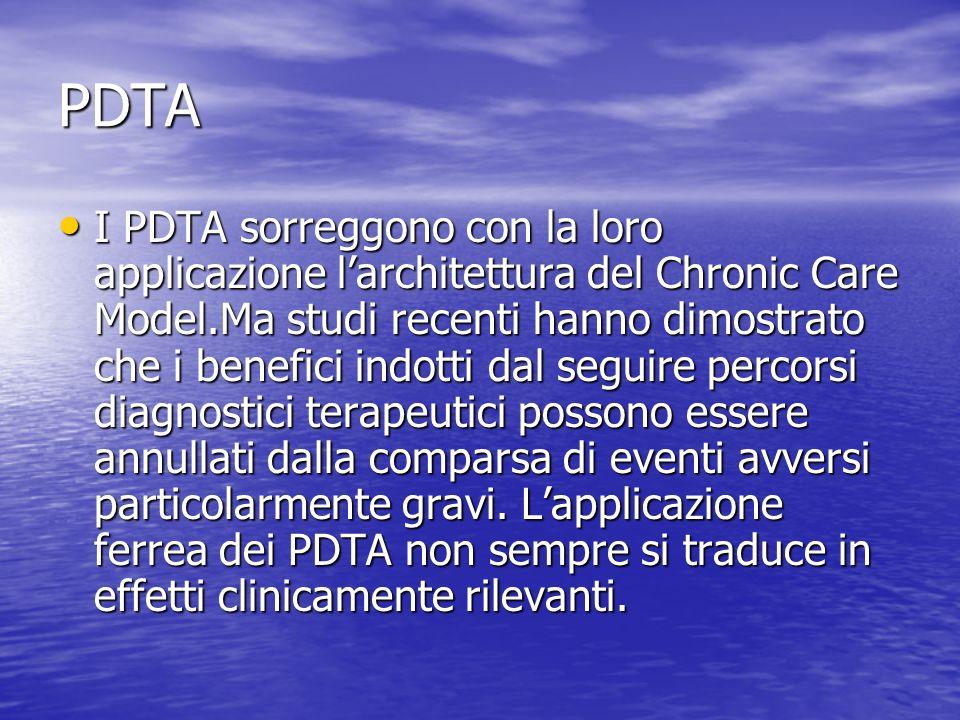 PDTA I PDTA sorreggono con la loro applicazione larchitettura del Chronic Care Model.Ma studi recenti hanno dimostrato che i benefici indotti dal segu