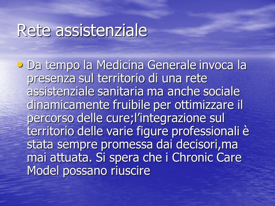 Rete assistenziale Da tempo la Medicina Generale invoca la presenza sul territorio di una rete assistenziale sanitaria ma anche sociale dinamicamente