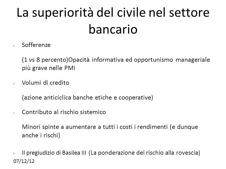 07/12/12 La superiorità del civile nel settore bancario Sofferenze (1 vs 8 percento)Opacità informativa ed opportunismo manageriale più grave nelle PM