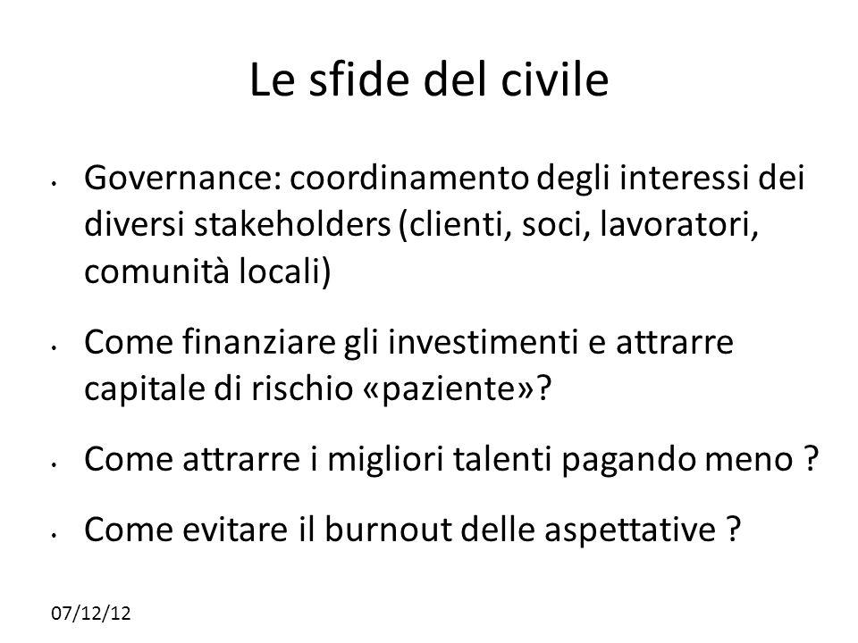 07/12/12 Le sfide del civile Governance: coordinamento degli interessi dei diversi stakeholders (clienti, soci, lavoratori, comunità locali) Come fina