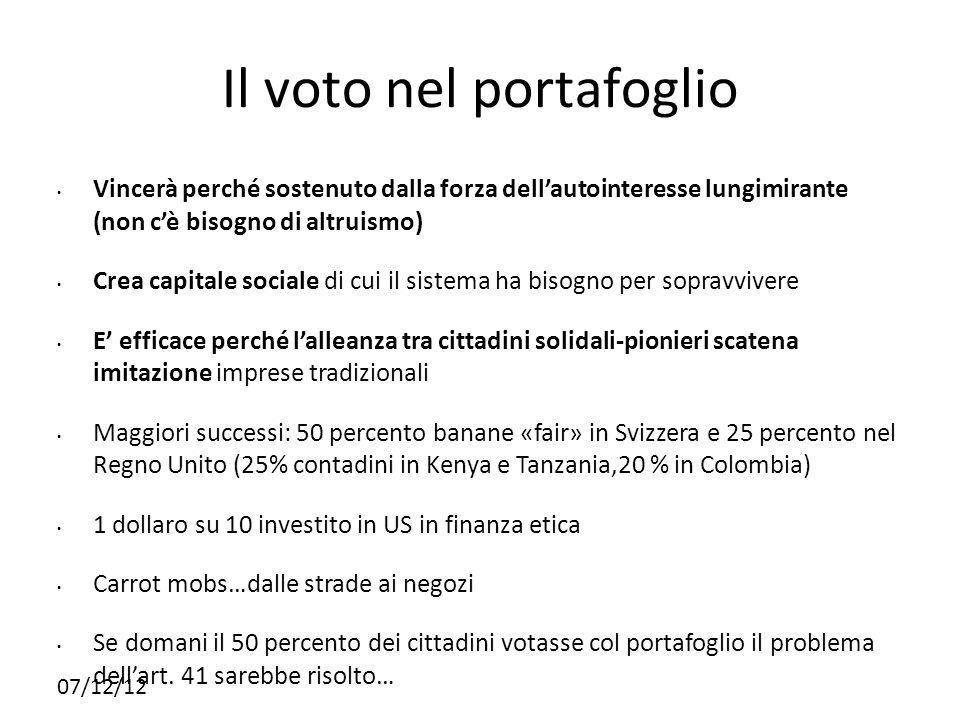 07/12/12 Il voto nel portafoglio Vincerà perché sostenuto dalla forza dellautointeresse lungimirante (non cè bisogno di altruismo) Crea capitale socia