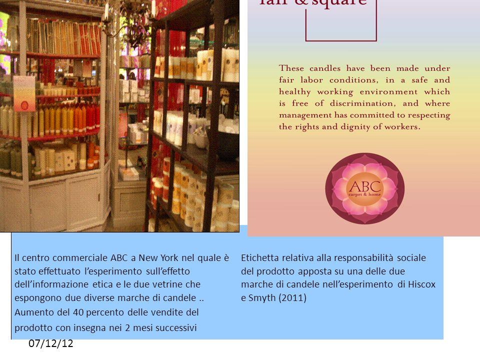 07/12/12 Il centro commerciale ABC a New York nel quale è stato effettuato lesperimento sulleffetto dellinformazione etica e le due vetrine che espong