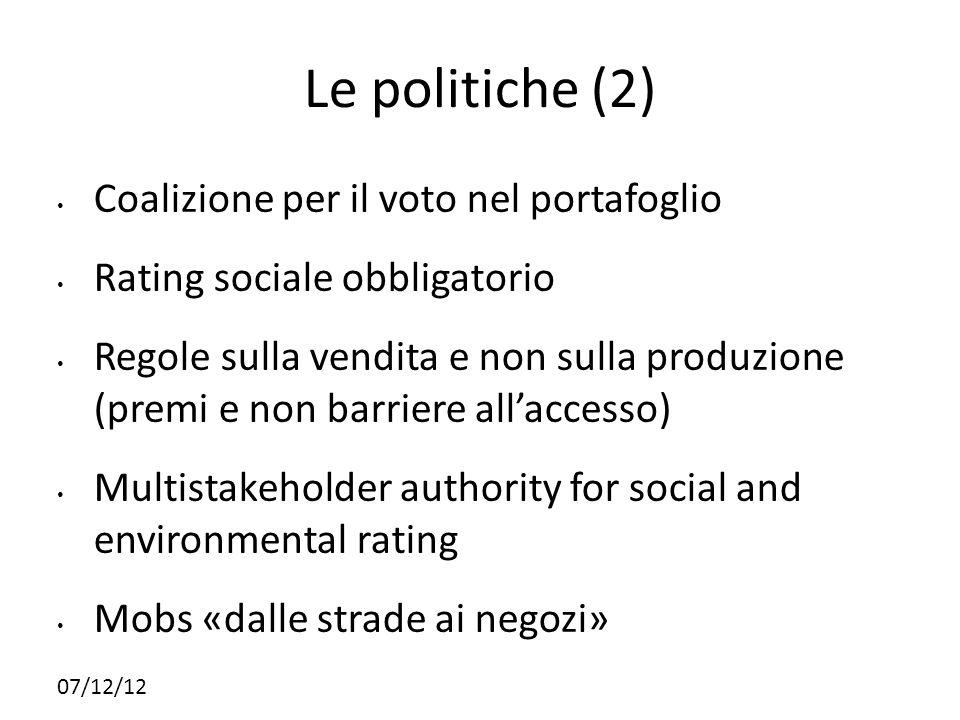 07/12/12 Le politiche (2) Coalizione per il voto nel portafoglio Rating sociale obbligatorio Regole sulla vendita e non sulla produzione (premi e non