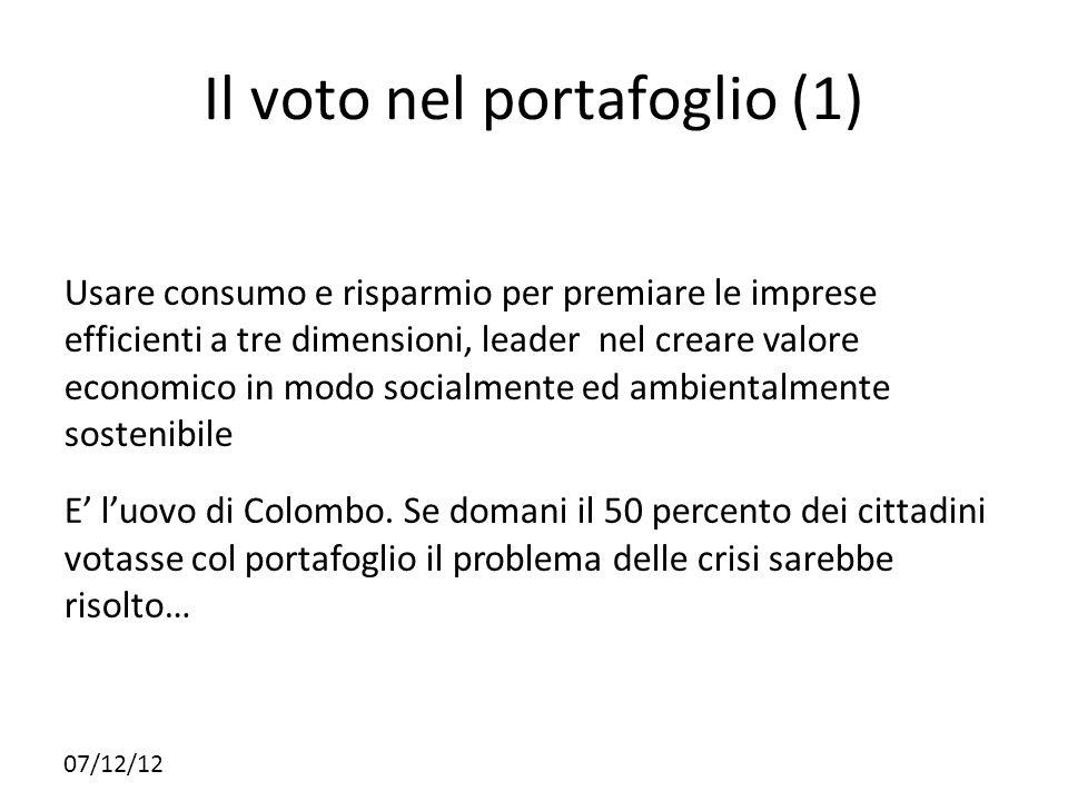 07/12/12 Il voto nel portafoglio (1) Usare consumo e risparmio per premiare le imprese efficienti a tre dimensioni, leader nel creare valore economico
