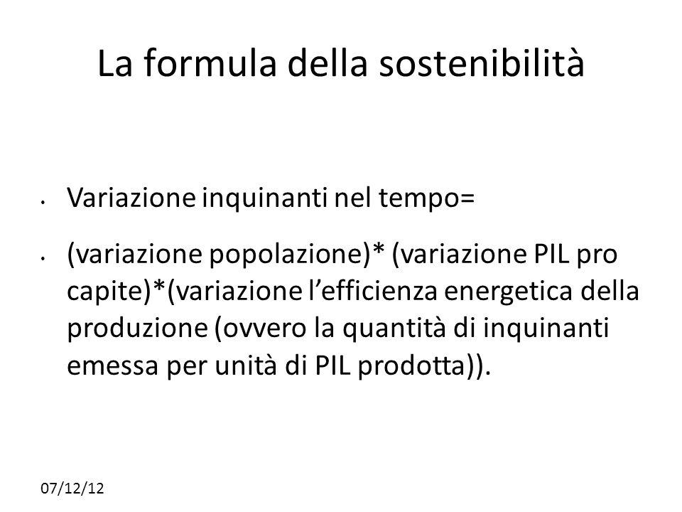 07/12/12 La formula della sostenibilità Variazione inquinanti nel tempo= (variazione popolazione)* (variazione PIL pro capite)*(variazione lefficienza