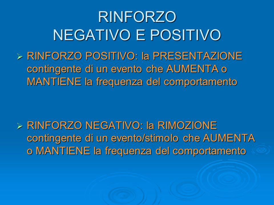 RINFORZO NEGATIVO E POSITIVO RINFORZO POSITIVO: la PRESENTAZIONE contingente di un evento che AUMENTA o MANTIENE la frequenza del comportamento RINFOR