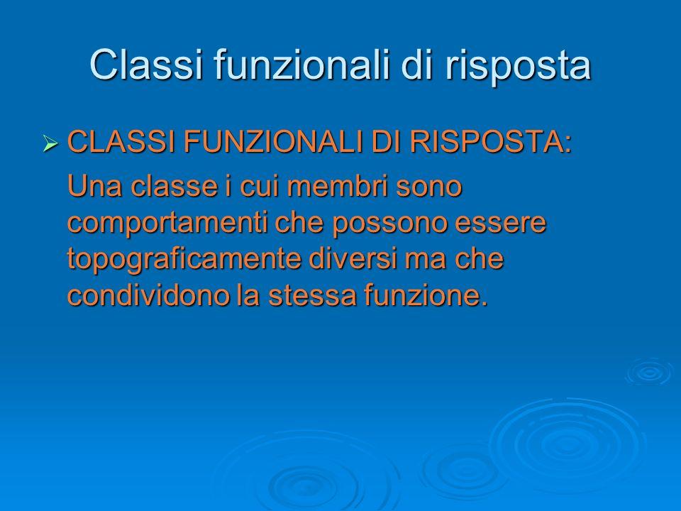 Classi funzionali di risposta CLASSI FUNZIONALI DI RISPOSTA: CLASSI FUNZIONALI DI RISPOSTA: Una classe i cui membri sono comportamenti che possono ess