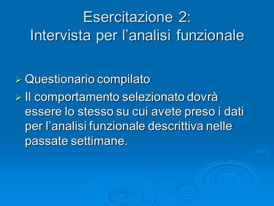Esercitazione 2: Intervista per lanalisi funzionale Questionario compilato Questionario compilato Il comportamento selezionato dovrà essere lo stesso