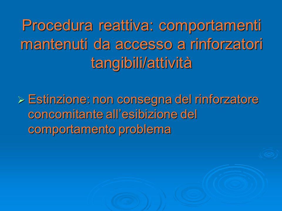 Procedura reattiva: comportamenti mantenuti da accesso a rinforzatori tangibili/attività Estinzione: non consegna del rinforzatore concomitante allesi