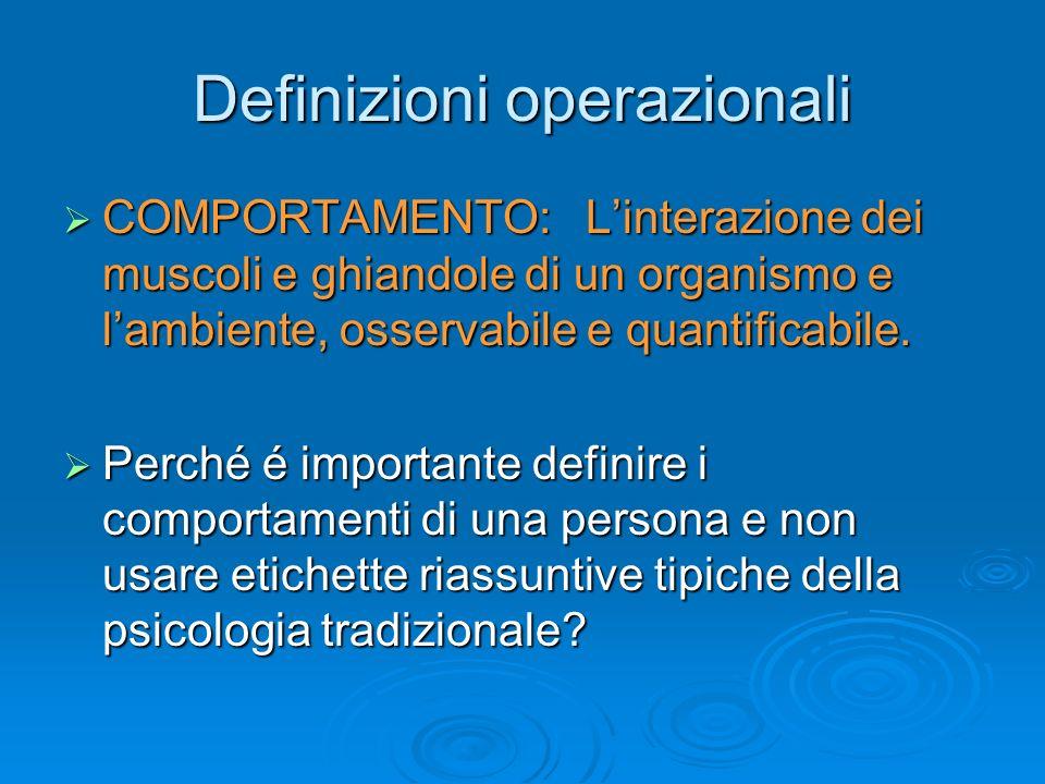 Definizioni operazionali COMPORTAMENTO:Linterazione dei muscoli e ghiandole di un organismo e lambiente, osservabile e quantificabile. COMPORTAMENTO:L
