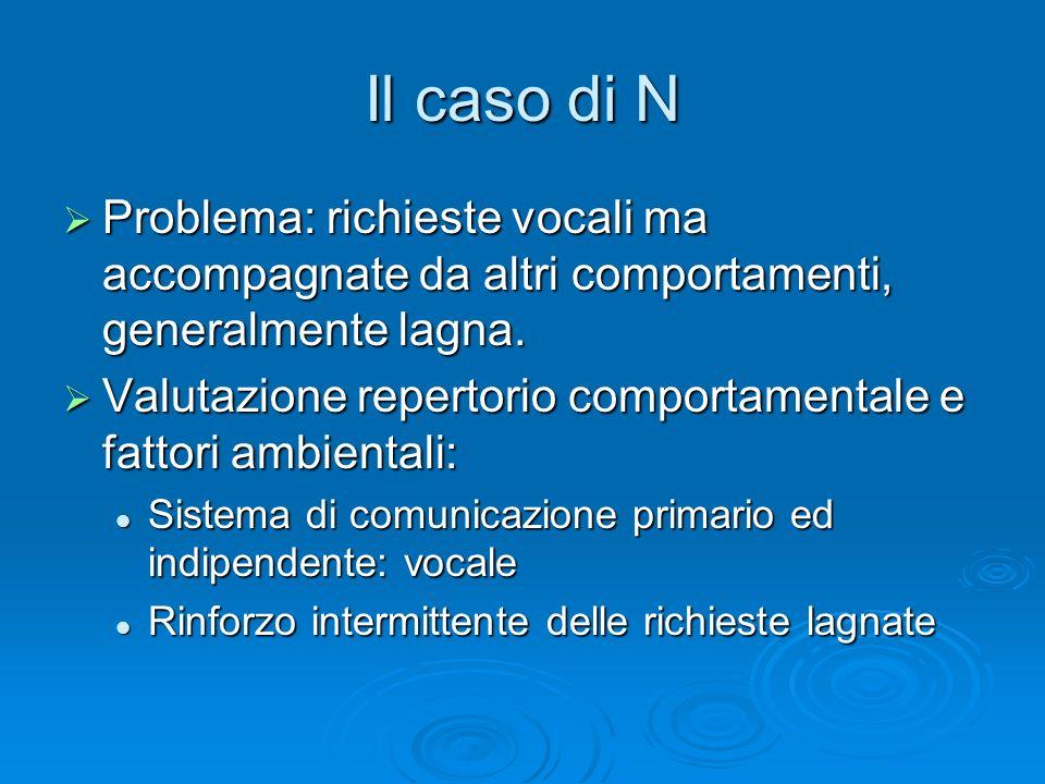 Il caso di N Problema: richieste vocali ma accompagnate da altri comportamenti, generalmente lagna. Problema: richieste vocali ma accompagnate da altr