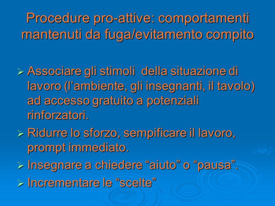Procedure pro-attive: comportamenti mantenuti da fuga/evitamento compito Associare gli stimoli della situazione di lavoro (lambiente, gli insegnanti,