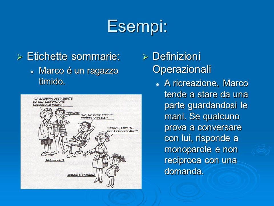 Esempi: Etichette sommarie: Etichette sommarie: Marco é un ragazzo timido. Marco é un ragazzo timido. Definizioni Operazionali Definizioni Operazional