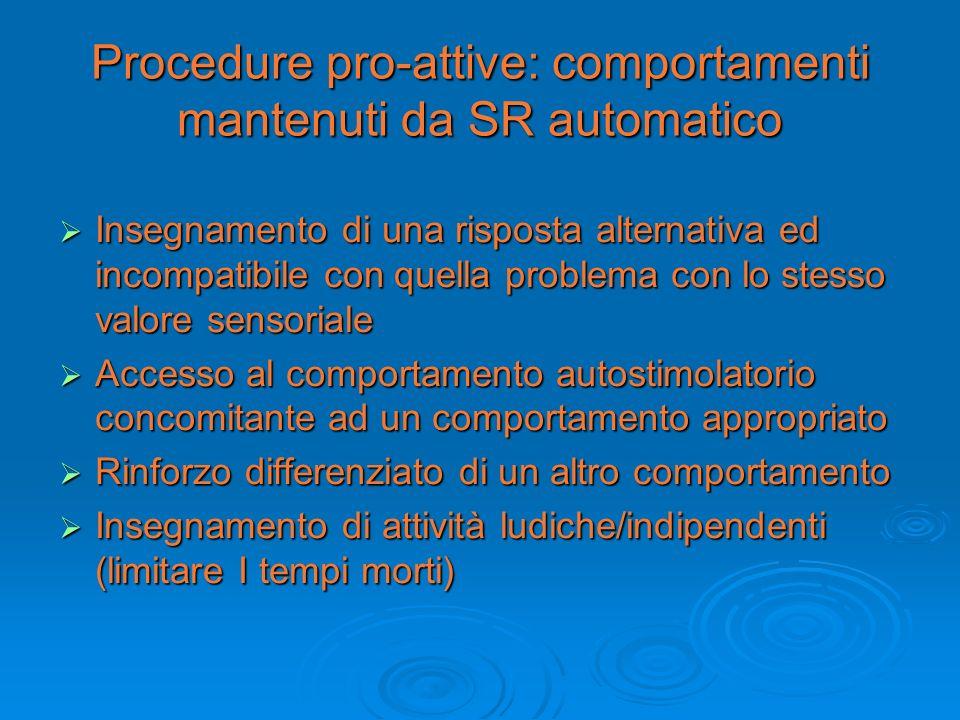 Procedure pro-attive: comportamenti mantenuti da SR automatico Insegnamento di una risposta alternativa ed incompatibile con quella problema con lo st