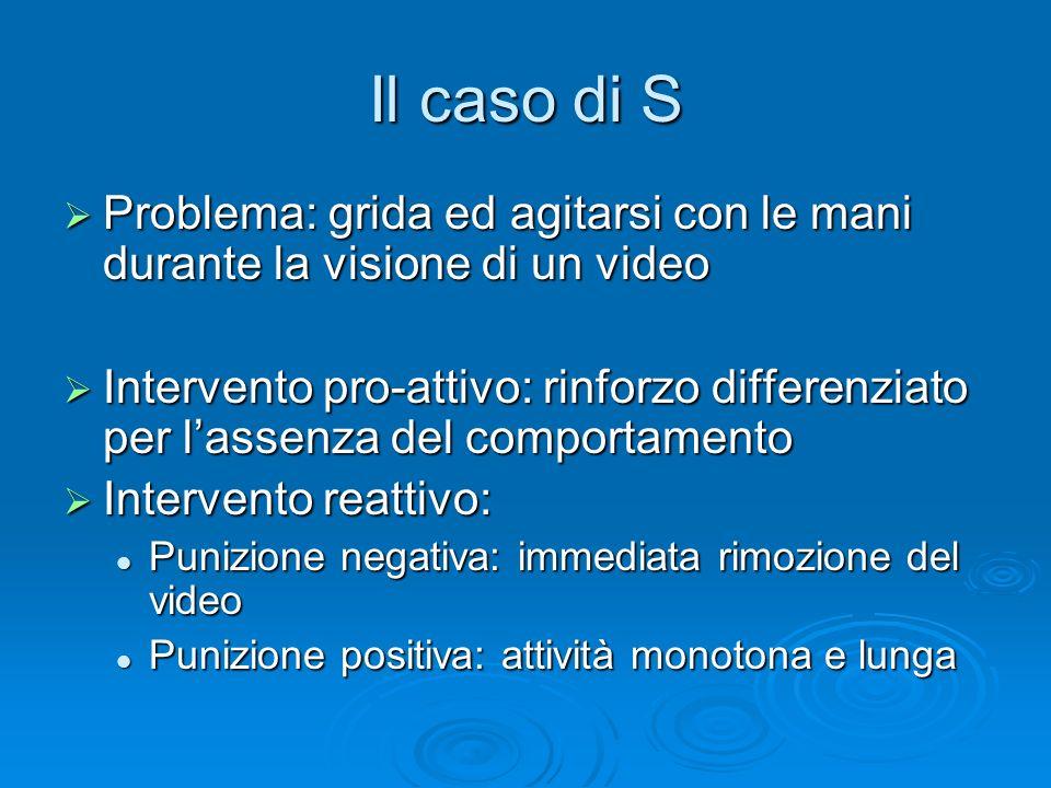 Il caso di S Problema: grida ed agitarsi con le mani durante la visione di un video Problema: grida ed agitarsi con le mani durante la visione di un v