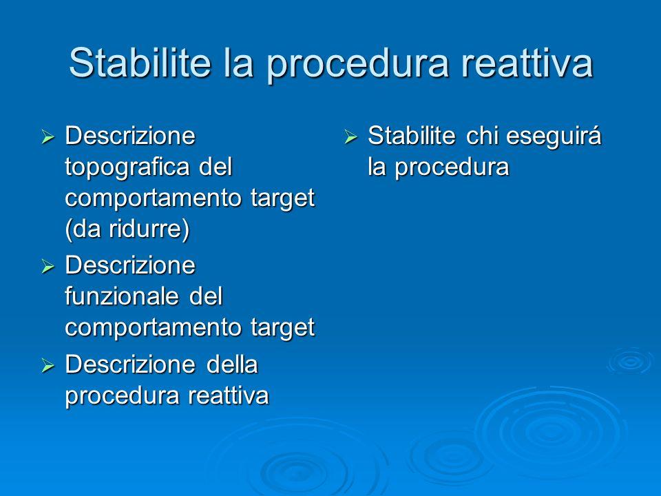 Stabilite la procedura reattiva Descrizione topografica del comportamento target (da ridurre) Descrizione topografica del comportamento target (da rid