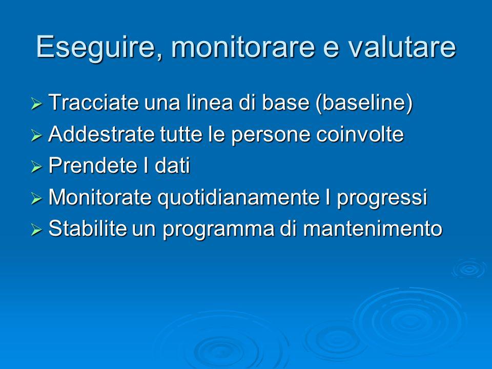 Eseguire, monitorare e valutare Tracciate una linea di base (baseline) Tracciate una linea di base (baseline) Addestrate tutte le persone coinvolte Ad