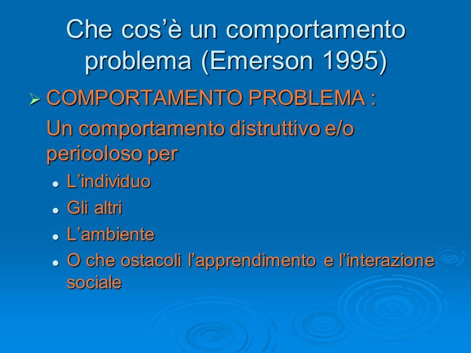 Fattori a rischio per lo sviluppo di comportamenti problema Livello di funzionamento adattivo (Sigafoos et al, 1995) Livello di funzionamento adattivo (Sigafoos et al, 1995) Limitata abilità comunicativa (Schroeder et al, 1978) Limitata abilità comunicativa (Schroeder et al, 1978) Difficoltà di apprendimento (QI) Difficoltà di apprendimento (QI) Autismo (Sturmey and Vernon, 2001) Autismo (Sturmey and Vernon, 2001)