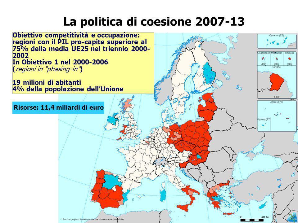 La politica di coesione 2007-13 Obiettivo competitività e occupazione: regioni con il PIL pro-capite superiore al 75% della media UE25 nel triennio 2000- 2002 In Obiettivo 1 nel 2000-2006 (regioni in phasing-in) 19 milioni di abitanti 4% della popolazione dellUnione Risorse: 11,4 miliardi di euro