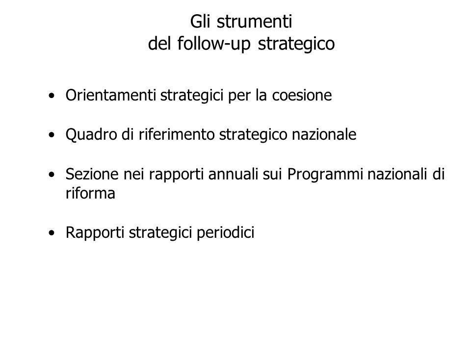 Gli strumenti del follow-up strategico Orientamenti strategici per la coesione Quadro di riferimento strategico nazionale Sezione nei rapporti annuali sui Programmi nazionali di riforma Rapporti strategici periodici