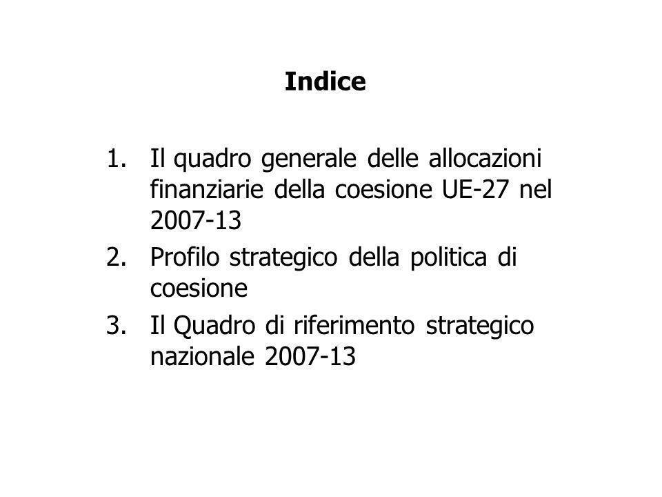 Indice 1.Il quadro generale delle allocazioni finanziarie della coesione UE-27 nel 2007-13 2.Profilo strategico della politica di coesione 3.Il Quadro di riferimento strategico nazionale 2007-13