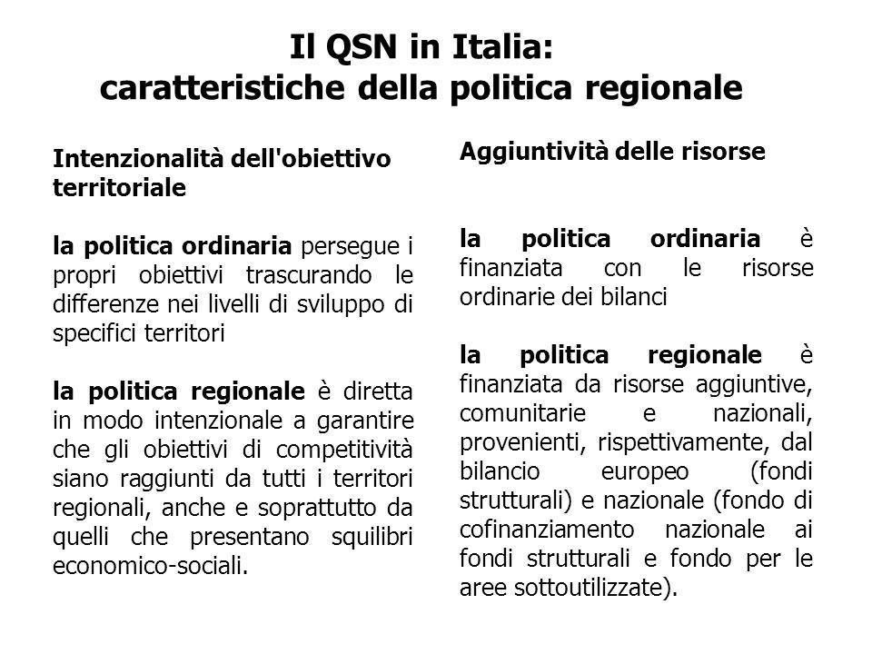 Il QSN in Italia: caratteristiche della politica regionale Intenzionalità dell obiettivo territoriale la politica ordinaria persegue i propri obiettivi trascurando le differenze nei livelli di sviluppo di specifici territori la politica regionale è diretta in modo intenzionale a garantire che gli obiettivi di competitività siano raggiunti da tutti i territori regionali, anche e soprattutto da quelli che presentano squilibri economico-sociali.