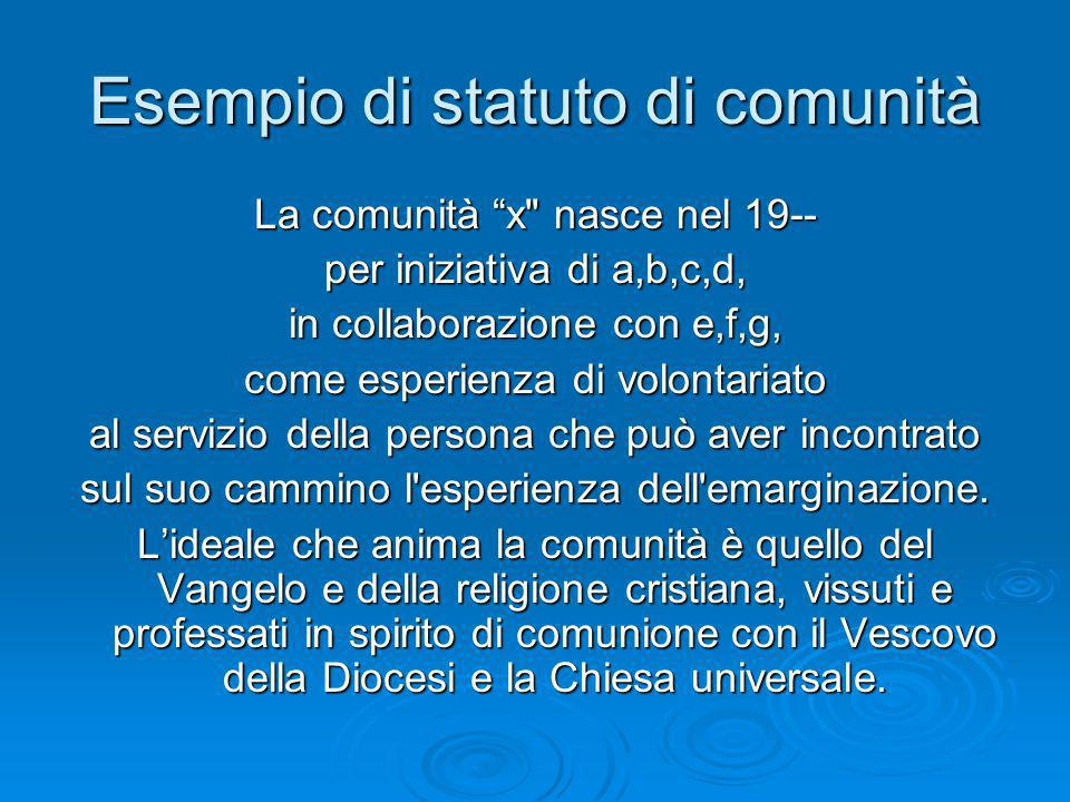 Esempio di statuto di comunità La comunità x nasce nel 19-- per iniziativa di a,b,c,d, in collaborazione con e,f,g, come esperienza di volontariato al servizio della persona che può aver incontrato sul suo cammino l esperienza dell emarginazione.
