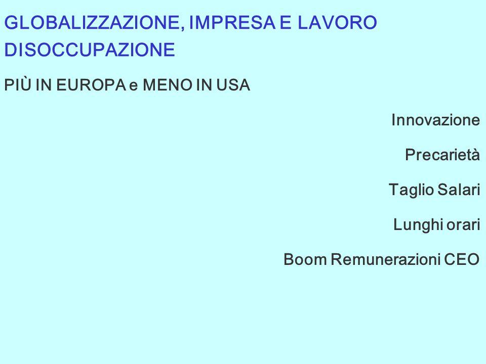 PIÙ IN EUROPA e MENO IN USA Innovazione Precarietà Taglio Salari Lunghi orari Boom Remunerazioni CEO GLOBALIZZAZIONE, IMPRESA E LAVORO DISOCCUPAZIONE