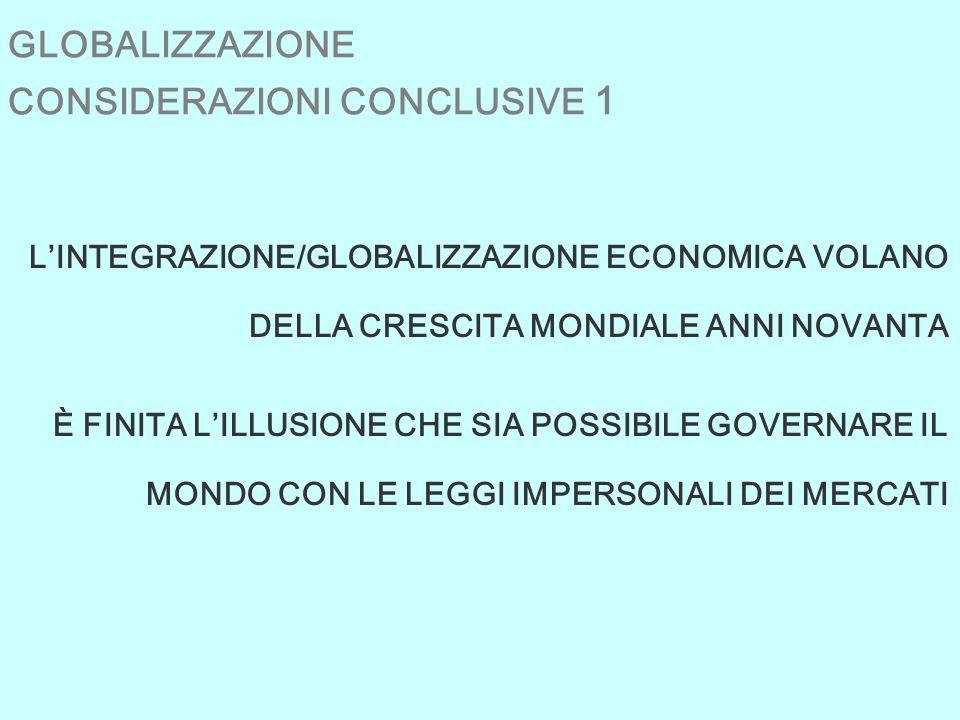 GLOBALIZZAZIONE CONSIDERAZIONI CONCLUSIVE 1 LINTEGRAZIONE/GLOBALIZZAZIONE ECONOMICA VOLANO DELLA CRESCITA MONDIALE ANNI NOVANTA È FINITA LILLUSIONE CHE SIA POSSIBILE GOVERNARE IL MONDO CON LE LEGGI IMPERSONALI DEI MERCATI