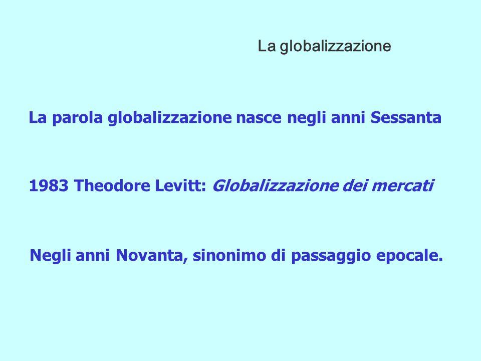 La parola globalizzazione nasce negli anni Sessanta 1983 Theodore Levitt: Globalizzazione dei mercati Negli anni Novanta, sinonimo di passaggio epocale.