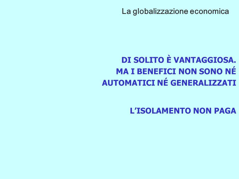 ACCELERAZIONE DELLINTERSCAMBIO COMMERCIALE SERVIZI/PRODUZIONE DI CONOSCENZA E TECNOLOGIA RIMOZIONE DEGLI OSTACOLI AI FLUSSI NUOVI CONCORRENTI GLOBALI La globalizzazione economica