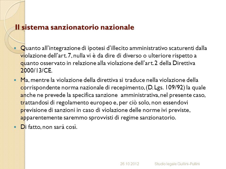 Il sistema sanzionatorio nazionale Quanto allintegrazione di ipotesi dillecito amministrativo scaturenti dalla violazione dellart.