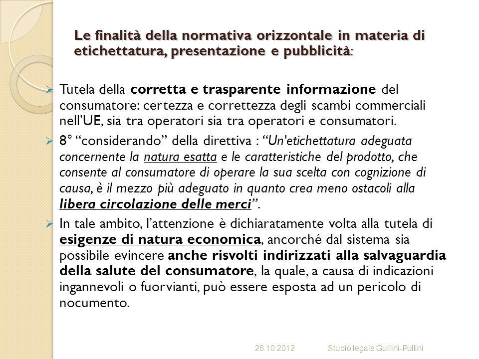 Le finalità della normativa orizzontale in materia di etichettatura, presentazione e pubblicità: Tutela della corretta e trasparente informazione del