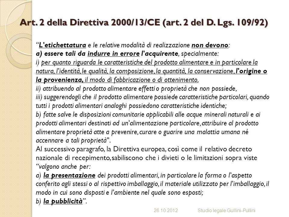 Art.2 della Direttiva 2000/13/CE (art. 2 del D. Lgs.