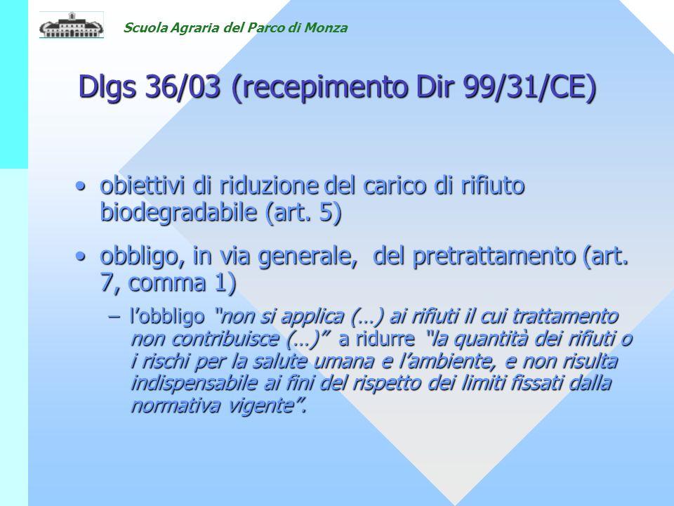 Scuola Agraria del Parco di Monza Dlgs 36/03 (recepimento Dir 99/31/CE) obiettivi di riduzione del carico di rifiuto biodegradabile (art.