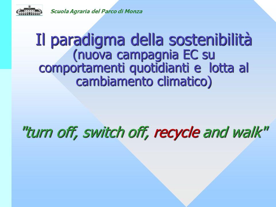 Scuola Agraria del Parco di Monza Il paradigma della sostenibilità (nuova campagnia EC su comportamenti quotidianti e lotta al cambiamento climatico) turn off, switch off, recycle and walk