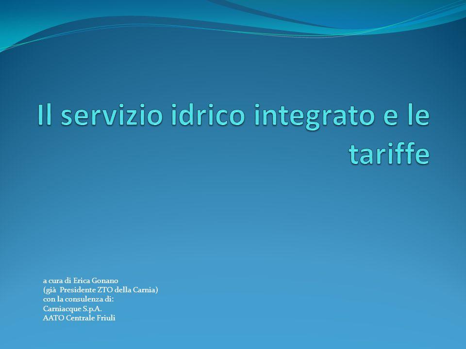 CENNI NORMATIVI La Legge Galli (36/1994) Disposizioni in materia di risorse idriche come abrogata e sostituita dal D.lgs.