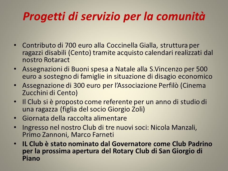 Progetti di servizio per la comunità Contributo di 700 euro alla Coccinella Gialla, struttura per ragazzi disabili (Cento) tramite acquisto calendari