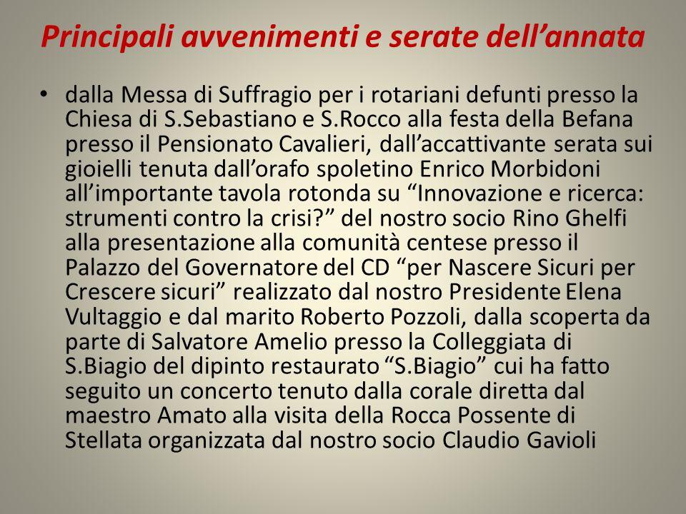 Principali avvenimenti e serate dellannata dalla Messa di Suffragio per i rotariani defunti presso la Chiesa di S.Sebastiano e S.Rocco alla festa dell