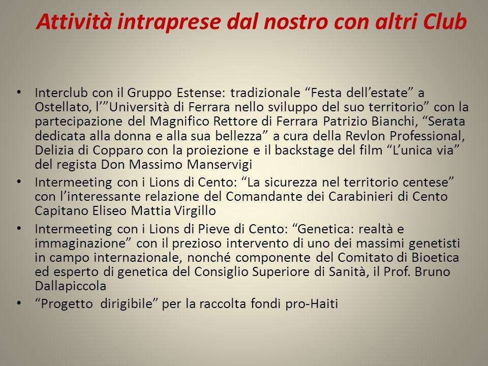 Attività intraprese dal nostro con altri Club Interclub con il Gruppo Estense: tradizionale Festa dellestate a Ostellato, lUniversità di Ferrara nello