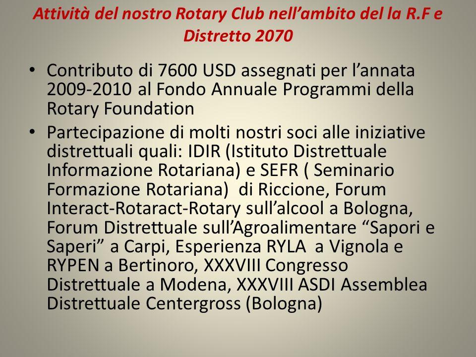 Attività del nostro Rotary Club nellambito del la R.F e Distretto 2070 Contributo di 7600 USD assegnati per lannata 2009-2010 al Fondo Annuale Program