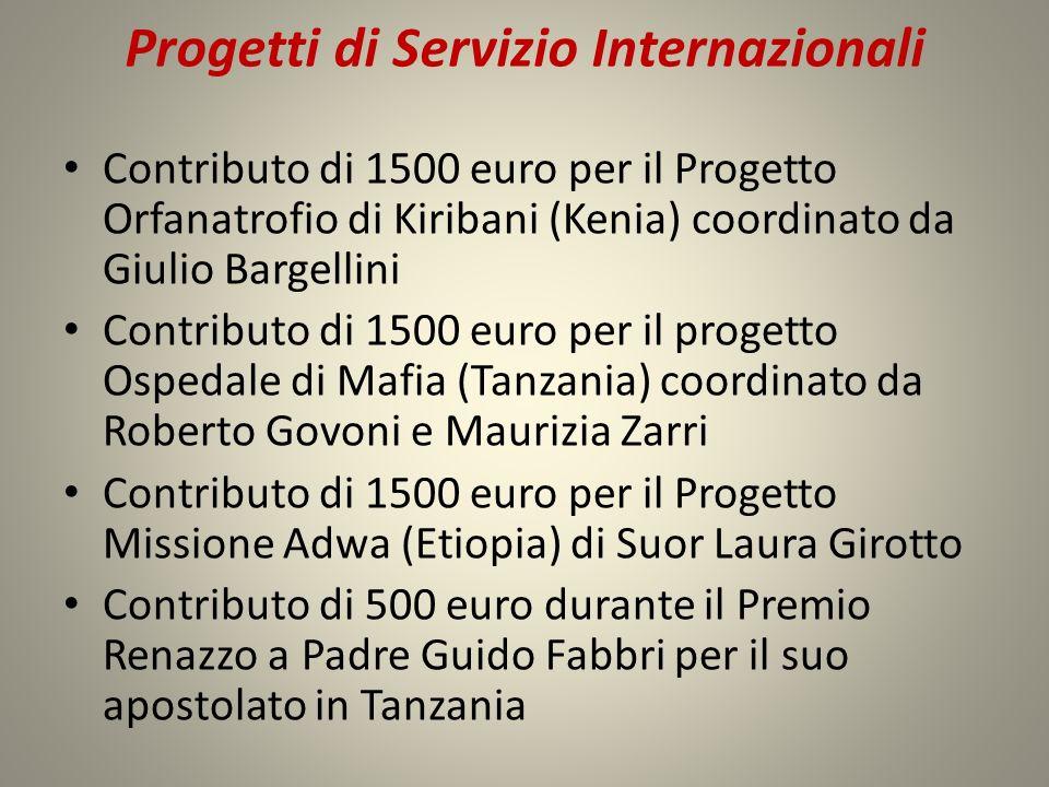 Progetti di Servizio Internazionali Contributo di 1500 euro per il Progetto Orfanatrofio di Kiribani (Kenia) coordinato da Giulio Bargellini Contribut