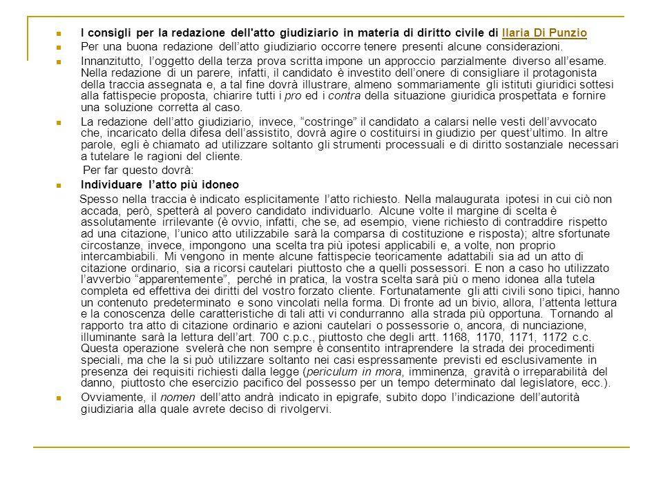I consigli per la redazione dell'atto giudiziario in materia di diritto civile di Ilaria Di PunzioIlaria Di Punzio Per una buona redazione dellatto gi