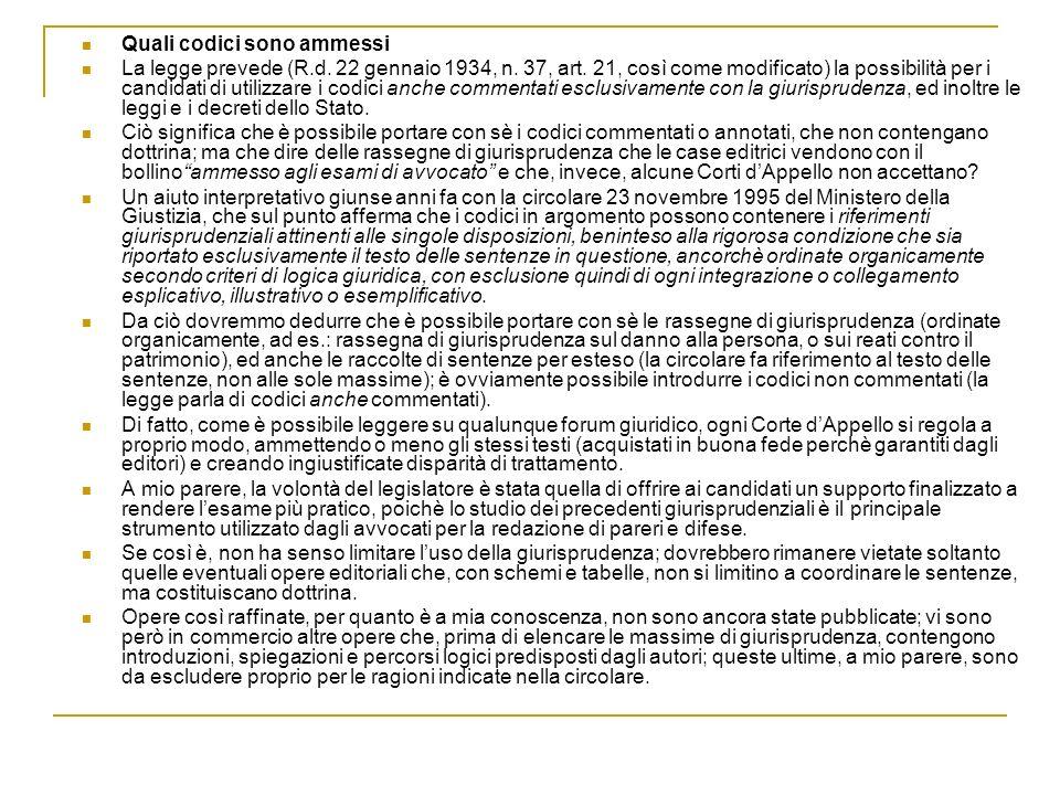 Quali codici sono ammessi La legge prevede (R.d. 22 gennaio 1934, n. 37, art. 21, così come modificato) la possibilità per i candidati di utilizzare i