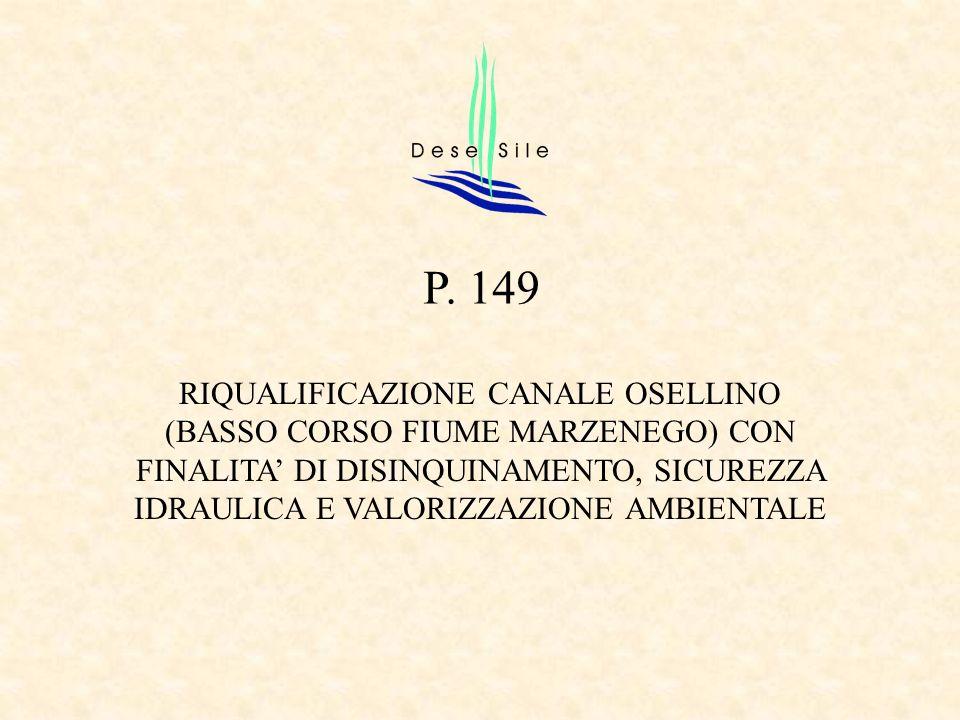 RIQUALIFICAZIONE CANALE OSELLINO (BASSO CORSO FIUME MARZENEGO) CON FINALITA DI DISINQUINAMENTO, SICUREZZA IDRAULICA E VALORIZZAZIONE AMBIENTALE P. 149