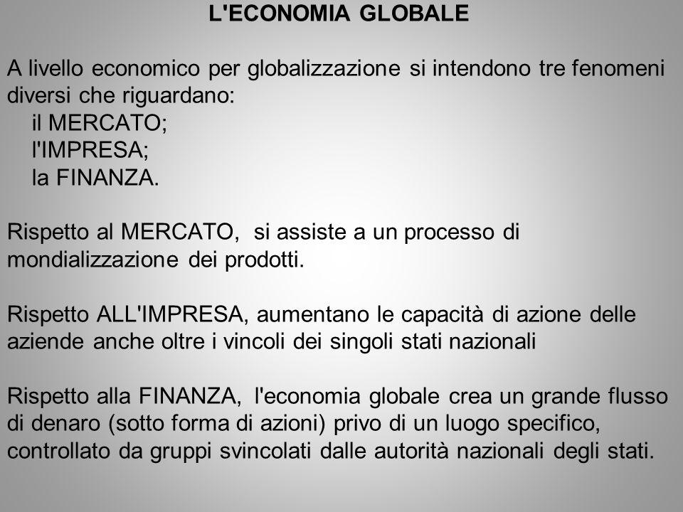 L'ECONOMIA GLOBALE A livello economico per globalizzazione si intendono tre fenomeni diversi che riguardano: il MERCATO; l'IMPRESA; la FINANZA. Rispet