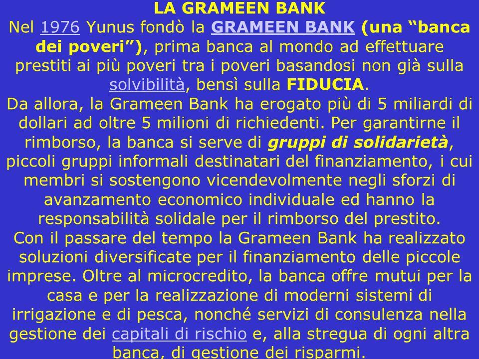 LA GRAMEEN BANK Nel 1976 Yunus fondò la GRAMEEN BANK (una banca dei poveri), prima banca al mondo ad effettuare prestiti ai più poveri tra i poveri ba