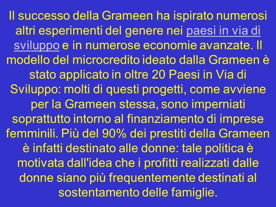Il successo della Grameen ha ispirato numerosi altri esperimenti del genere nei paesi in via di sviluppo e in numerose economie avanzate. Il modello d